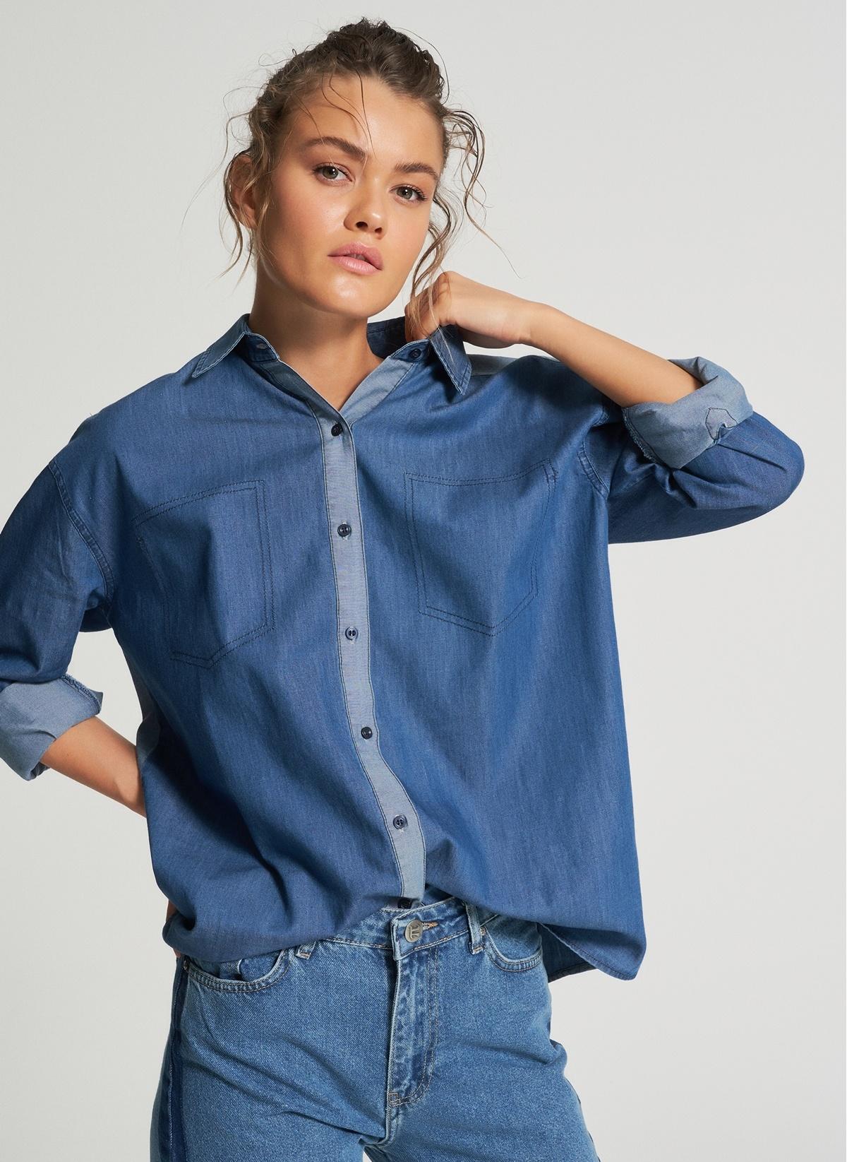 Kadın Pi π Renk Bloklu Jean Gömlek